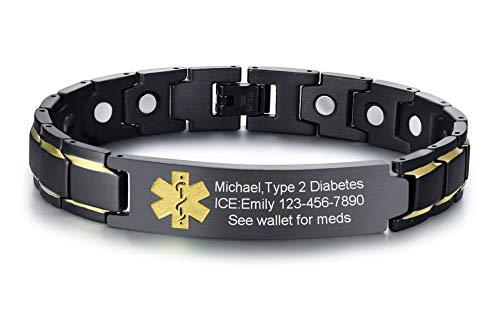 (VNOX Customize Medical Alert ID Black Stainless Steel Magnetic Adjustable Therapy Bracelet for Men Women)