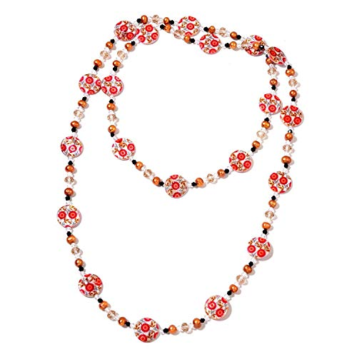 Red Shell, Freshwater Bronze Pearl, Multi Color Glass Necklace (48 in) ()