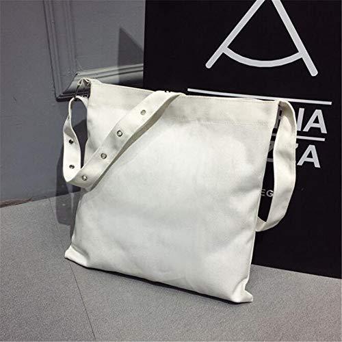 Décontracté Sac Mode À pour Shopping Noir Sac White De Femme Nouveau Simple De Toile GWQGZ Sac Bandoulière Pp7q1