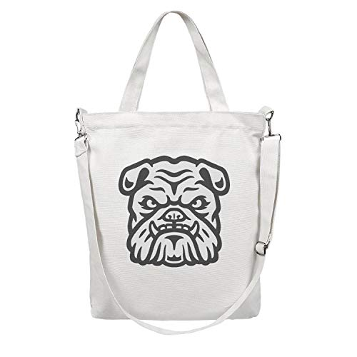 12.5X15 Inches Cute Zip Spacious And Roomy Canvas Large Tote Bag For Women Frightening american bulldog Washable & Eco-Friendly Beach Work Gym Book Lunch School Shopping Shoulder Handbag