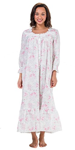 Eileen West Robe & Gown Set - Sleeveless Cotton Lawn Peignoir Set - Country Rose (White/Pink Floral, Large) by Eileen West (Image #2)