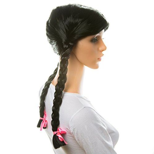 Women's Black Braids Wig: Sexy Wig for Women Pigtail Wig Black Hot Party Wigs for Women Girls Fun Sexy Black Costume Wig Halloween Costume Black Wig Braid Wig with Ribbons Bows -