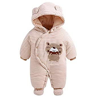 Fairy Baby Infant Baby Boy Girl Outfit Romper Winter Thick Fleece Snowsuit Outwear Size 12-18M (Bear)