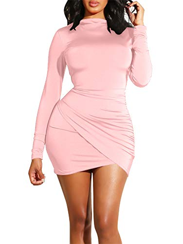 - GOBLES Women's Long Sleeve Elegant Sexy Bodycon Ruched Mini Cocktail Dress Pink