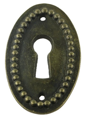 Brass Keyhole Cover (VERTICAL OVAL BEADED ANTIQUED BRASS KEYHOLE COVER ANTIQUE CABINET, DRAWER, DESK & OTHER VINTAGE FURNITURE REPRODUCTION RESTORATION HARDWARE + FREE BONUS (SKELETON KEY BADGE) K11-B260)