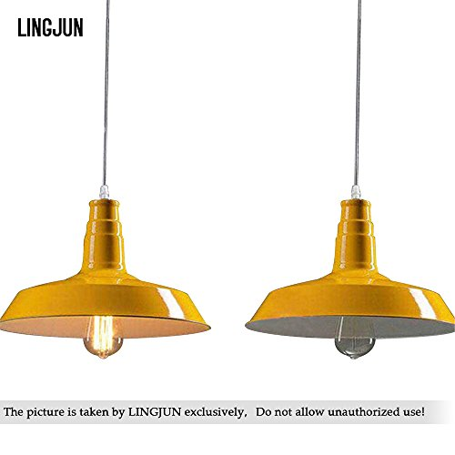 Vintage Industrial Alumium Lid Shade Ceiling Retro Chandelier Home Decor Pendant Lamp Cafe Restaurant Hanging Light (Yellow-26cm) (Yellow Pendant Lamp)