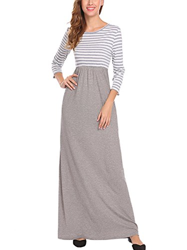 4 Gray with Scoop Maxi Dress Womens 3 Striped Casual Pockets Neck Sleeve BLUETIME qwX7OFT