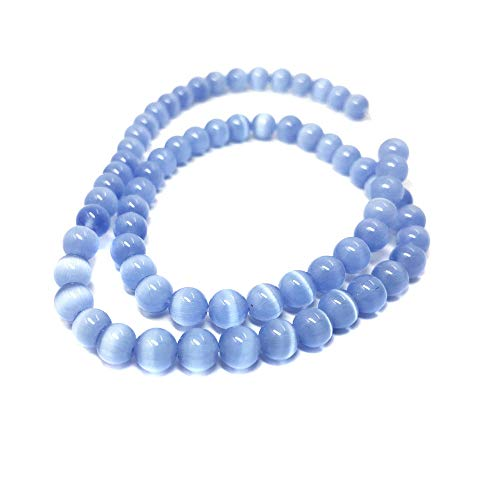 TheTasteJewelry 8mm Round Light Blue Cat Eye Beads 15 inches 38cm Jewelry Making Necklace (Light Blue Cats Eye)