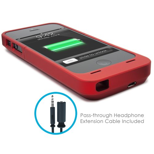 iPhone 5S Battery Case, Lenmar Meridian 2300 mAh MFI Approved [Slim] [Extended Battery Charger] [100% Additional Battery Life], Red by Lenmar (Image #4)