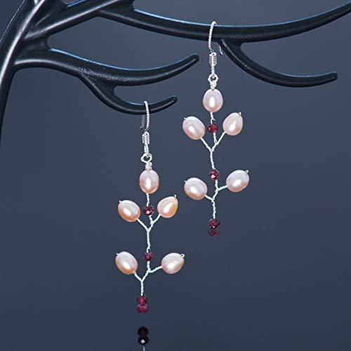 (Garnet Sterling Silver Pearl Long Twig Earrings Handmade Bohemian)