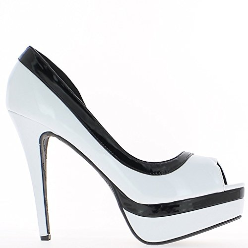 Tamanho Sapatos Preto E Branco 14 Centímetros Unha E Saltos Plataforma