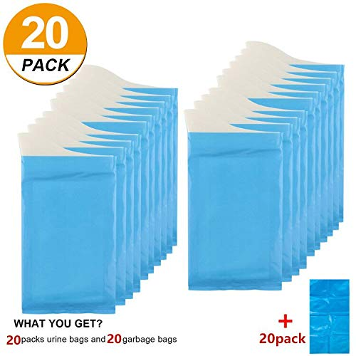 [20 Pack] Disposable Urine Bags Camping Collection Portable Pee Bag for Outdoor Travel Urinal Toilet Traffic Jam Emergency Car Vomit Bag for Men Women Kids Children Patient Pregnant Brief Relief (20)