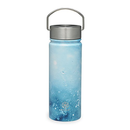 Gaiam Water Bottle Wide-Mouth Stainless Steel, Raindrop, 18 oz