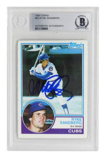 (Ryne Sandberg Signed Chicago Cubs 1983 Topps Baseball Rookie Card #83 - (Beckett Encapsulated) - Baseball Slabbed Autographed Cards )