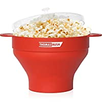 Premium Microwave Popcorn Maker by Thomas Rush - One of the Best Microwave Popcorn Poppers for Home - Easy to Use - Healthy Choice - 100% Platinum Silicone - 10 Year Warranty