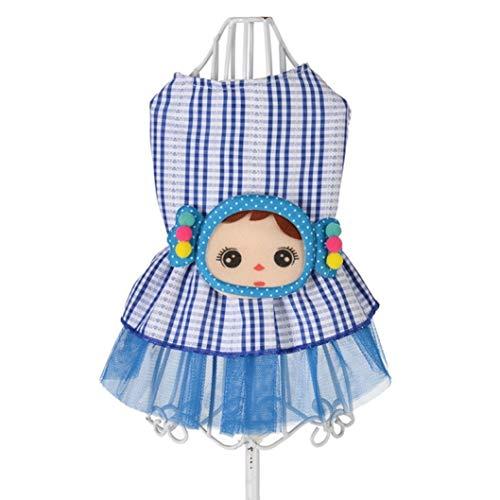 LVYING Summer Dog Princess Dress Cute Clothes for Small Medium Female Dog Pet Plaid Printed Skirt Dress -