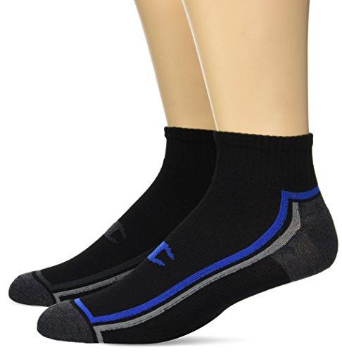 Champion Men's Ankle Training Socks 3-Pack, Black with Blue Assortment 6-12 ()