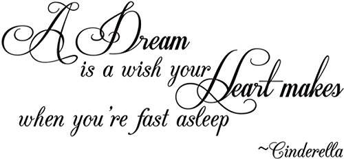 (Empresal A Dream is a Wish Your Heart Makes When You're Fast Asleep -Cinderella Wall Quote Wall Decals Wall Decal Wall Sticker )