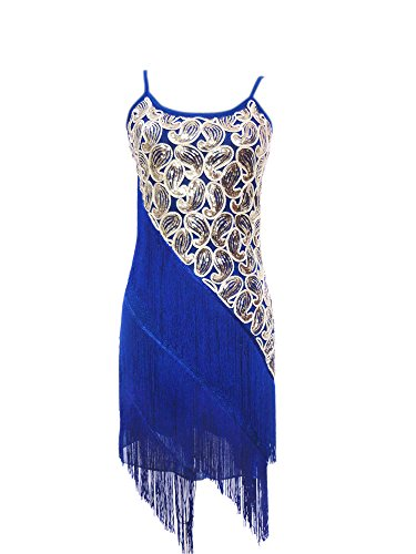 Great Gatsby Charleston Inspired Style Cocktail Halloween Costumes Dress , Blue/gold, -