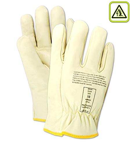 Magid Glove & Safety 12507-9 Magid Power Master 12507 Low Voltage Leather Lineman's Protector Glove, 10, Tan, 9