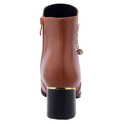 AIYOUMEI Damen Ankle Boots Blockabsatz Stiefeletten mit Strass Bequem Herbst Winter Warm Stiefel Schuhe Braun