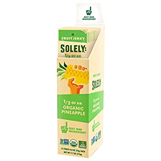 SOLELY Organic Pineapple Fruit Jerky, 12 Strips   One Ingredient   Vegan   Non-GMO   Gluten-Free   No Sugar Added