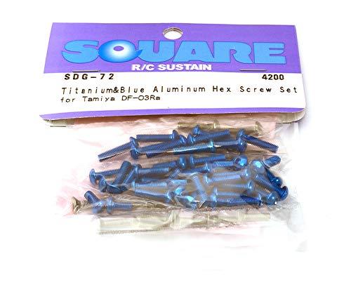 Square R/C RC Model Hop-ups SQ-SDG-72 SQ-SDG-72 SQ-SDG-72 Titanium and Blue Aluminum Hex Screw Set (for Tamiya DF-03Ra) 1dedc1