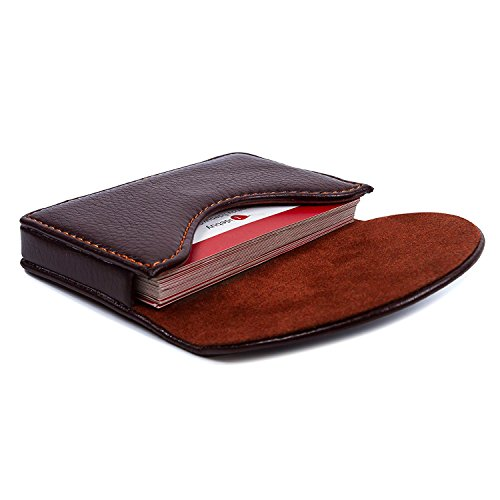 Leather Business Name Card Holder Case Wallet Credit Card Holder Case with Magnetic Shut Coffee