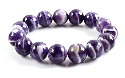 Amandastone Genuine Semi-Precious Gemstones Healing Power Elastic Stretch 14mm Beads Beaded Bracelet 7