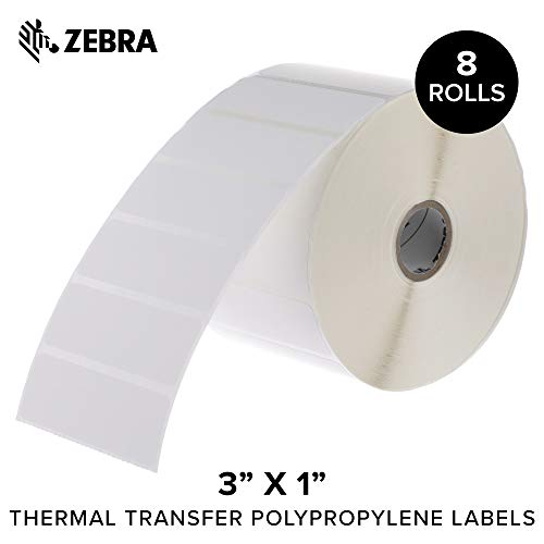 Zebra - 3 x 1 in Thermal Transfer Polypropylene Labels, PolyPro 3000T Permanent Adhesive Shipping Labels, Zebra Desktop Printer Compatible, 1 in Core - 8 Rolls