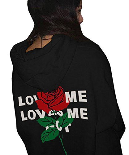(Dellytop Long Sleeve Pullover Hoodies Sweatshirts Coats With Pocket Printed Rose X-Large Black)