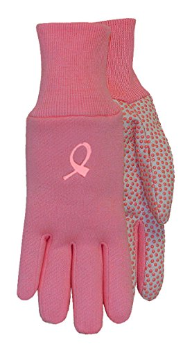 MidWest Gloves CA522D4-EA-AZ-1 Hope Jersey Cotton Canvas with PVC Dots (144 Pair Pack), Large, Pink/White by Midwest Gloves & Gear