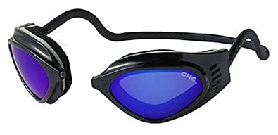 CliC Adjustable Front Connect Universal Sport Goggle, Standard Size, Black Frame with Blue Lens