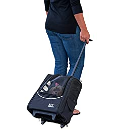 Pet Gear I-GO2 Escort Roller Backpack for cats and dogs, Black