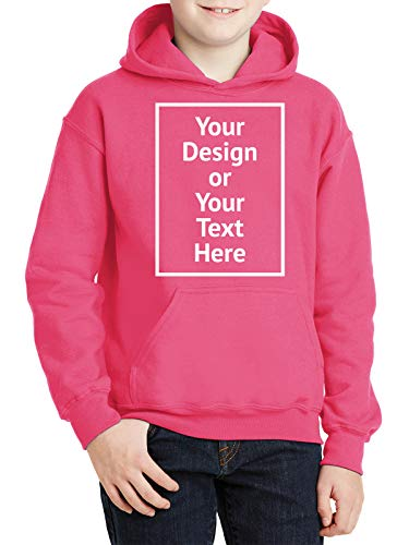 Personalized Photo Hoodies for Kids Youth Age 6 to 14 - Custom Sweatshirt for Boys Girls - Front/Back Print Safety Pink… |