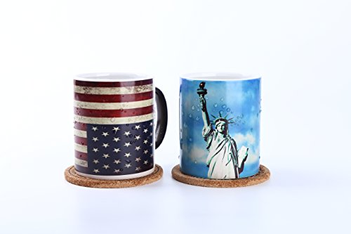 Color changing Mug Cup 13oz Pack of 2 (Statue of Liberty and U.S - Cheap Glasses Custom No Shot Minimum