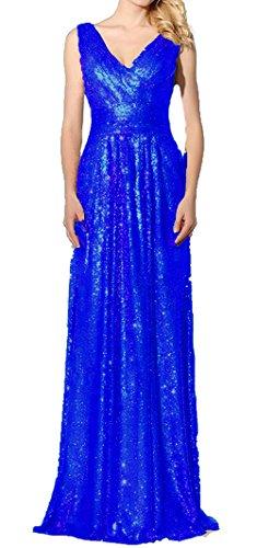 Bessdress Robes De Demoiselle D'honneur À Long Cou V Paillettes Robes De Soirée Bd496 Bleu Royal