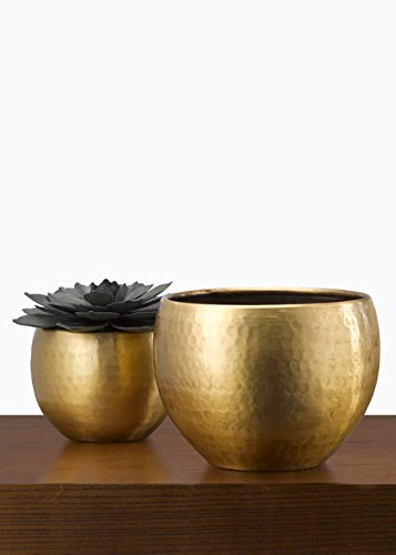 Serene Spaces Living Antique Brass Planter - Hammered Metal Provides Vintage Looking Texture, 7.5