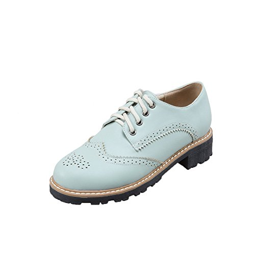 Odomolor Toe Shoes Lace up PU Heels Low Round Solid Women's Lightblue Pumps AUOFAw