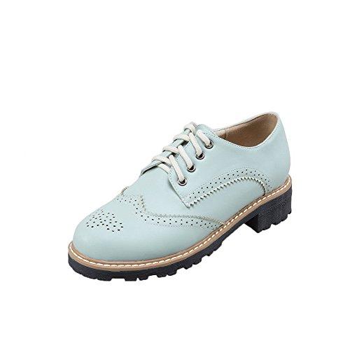 Solid LightBlue up Heels Toe PU Round AllhqFashion Low Closed Shoes Lace Pumps Women's Axwq00Zaf