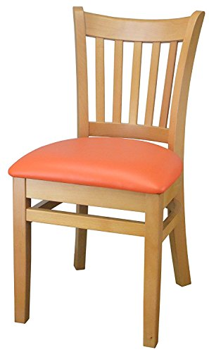 Vertical Slat Solid Beech Wood Chair Upholstered Cushion Fully Assembled Frame for Restaurants & Homes (Beechwood Fully Upholstered Chairs)