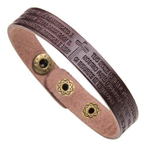 LiFashion LF Mens Handmade Cowhide Leather Bible Verse Cross Bracelets,Ancient Roman Revival Itlian Lords Prayer Cuff Bracelets Wristband Baptism Jewelry for Husband,Boyfriend,Son,Dad,Coffee,22cm