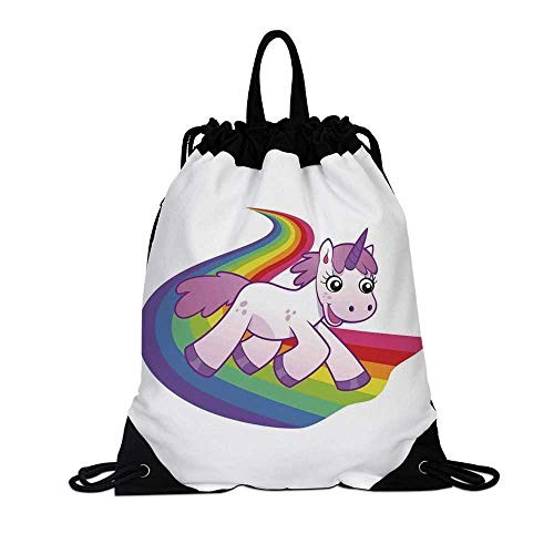 Cartoon Decor Canvas Drawstring Bag,Baby Unicorn Runs on the Rainbow Mythological Fantasy Legendary Creature with the Horn for Travel School,7.4