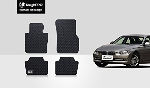 - ToughPRO Floor Mats Set (Front Row + 2nd Row) Compatible with BMW 320i (xDrive) - All Weather - Heavy Duty - (Made in USA) - Black Rubber - 2012, 2013, 2014, 2015, 2016, 2017, 2018, 2019