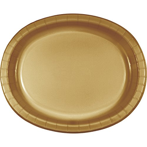 Glittering Gold Oval Plates, 24 ct