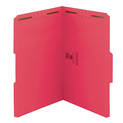 Smead Fastener File Folder, 2 Fasteners, Reinforced 1/3-Cut Tab, Legal Size, Red, 50 per Box ()