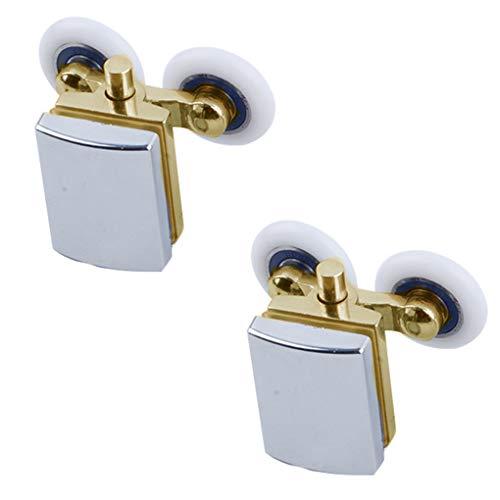 Gankmachine 2pcs Shower Enclosure Door Copper Roller Glass Sliding Door Runner Double Wheel Bathroom Pulleys#1#1