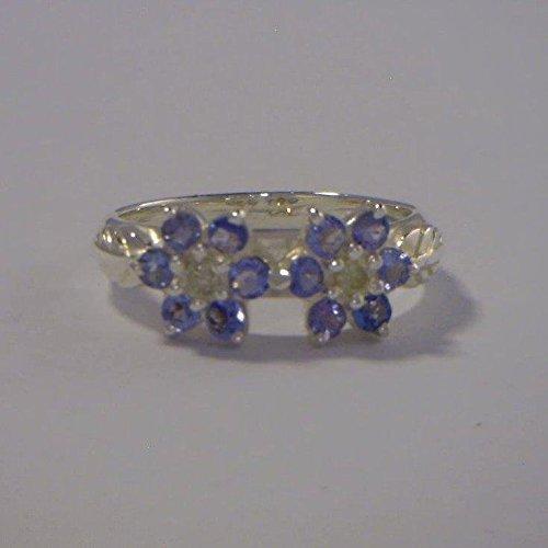 - Tanzanite Yellow Diamond Flower Handmade Sterling Silver Ladies Ring size 9.5