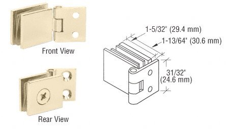 CRL Brass Finish Single Wall-to-Glass Hinges - Package