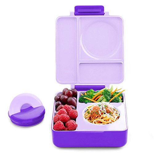 OmieBox Bento Box with Kids Thermos | Leak Proof, Insulated Lunch Box for Kids with 3 Compartments, Two Temperature Zones for Hot & Cold Food - (Purple Plum) (Single)